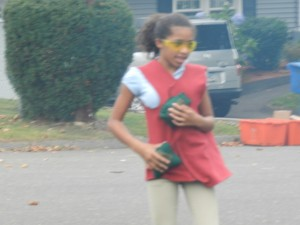 girl playing booger tag